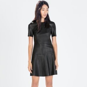 NEVER WORN Zara Black pleather Dress